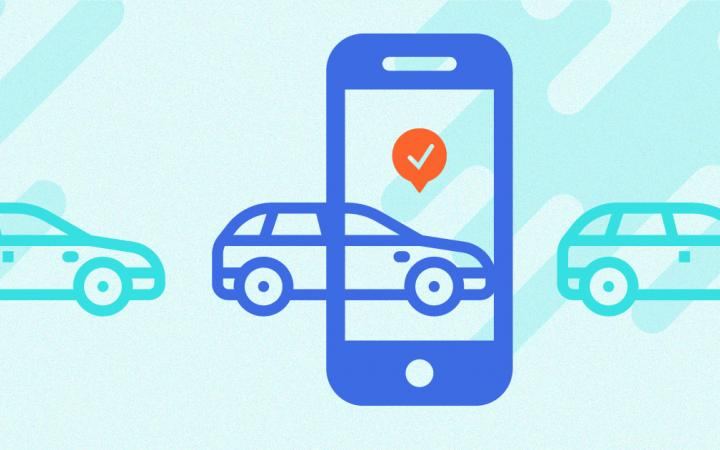 Abstract illustration of booking car share cars on your smartphone