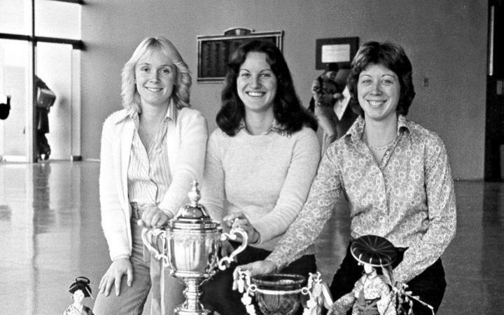 Members of the women's hockey team, 1978