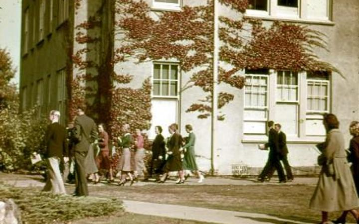 Students outside Applied Science building
