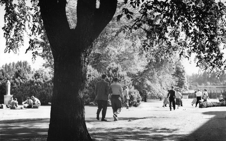 Students walking on UBC campus, circa 1950s