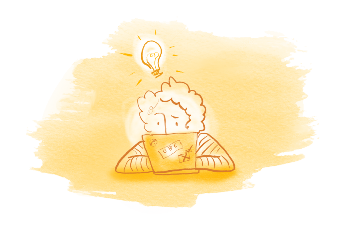 Illustration of person at a laptop with a lightbulb idea