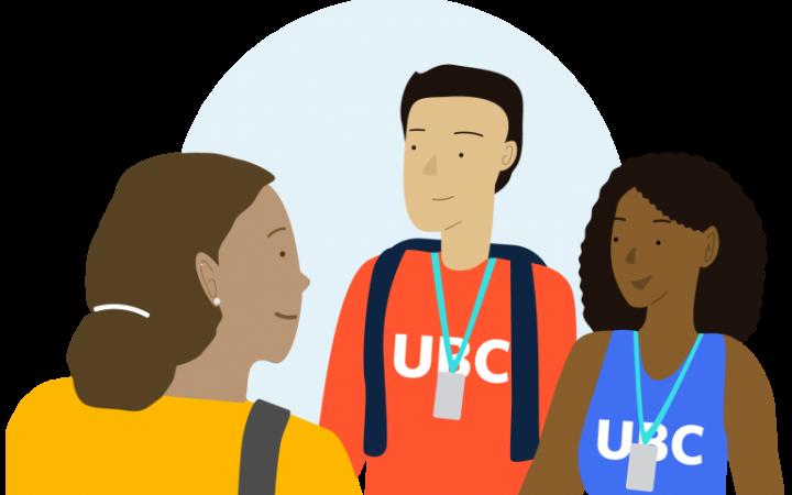 Vector illustration of three UBC students