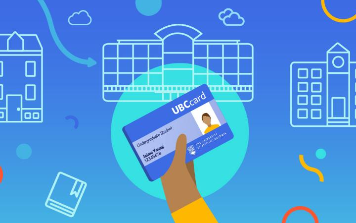 Vector illustration of a hand holding a UBCcard with buildings in the background