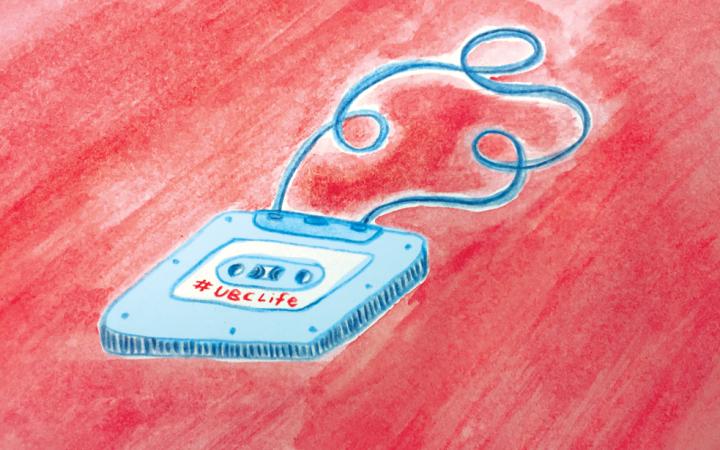 Illustration of a blue mixtape