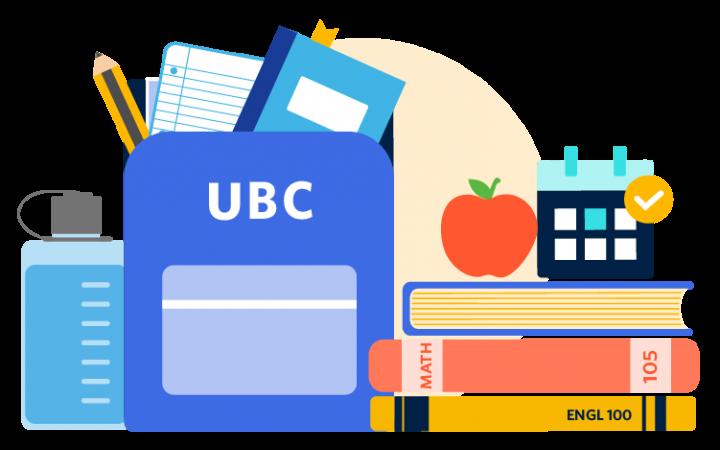 Illustration of water bottle, UBC backpack, textbooks