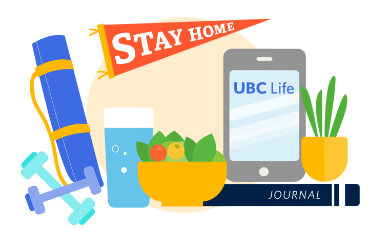"""Illustration of student's study space with fresh salad bowl, phone, plants, sparkling water, and a """"stay home"""" banner"""
