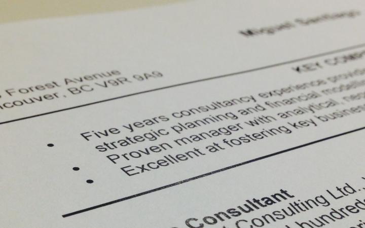 Printed resume