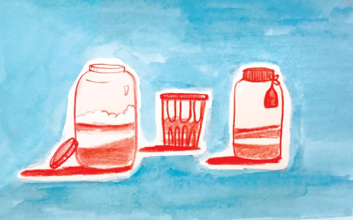 Illustration of three red jars