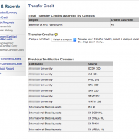 Screenshot of sample Transfer Credit section of SSC