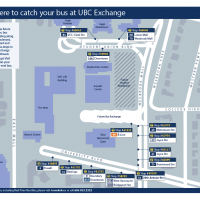 Map of where to catch your bus at UBC