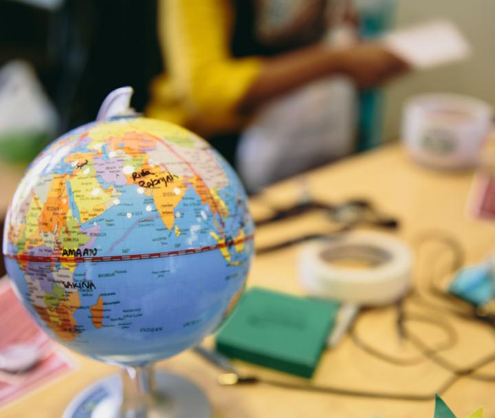 Small globe on a desk