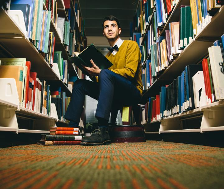 Studying in the library