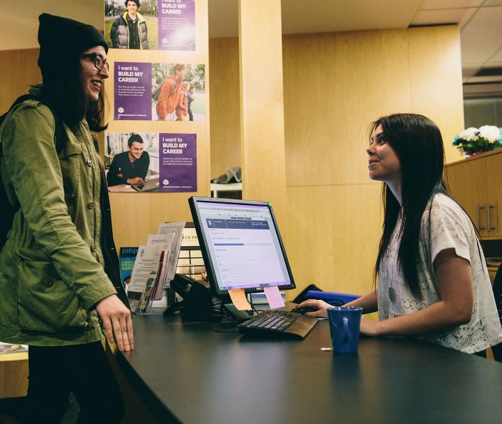 Student getting help at centre for student involvement and careers
