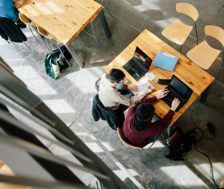 Bird's eye view of students studying at a table