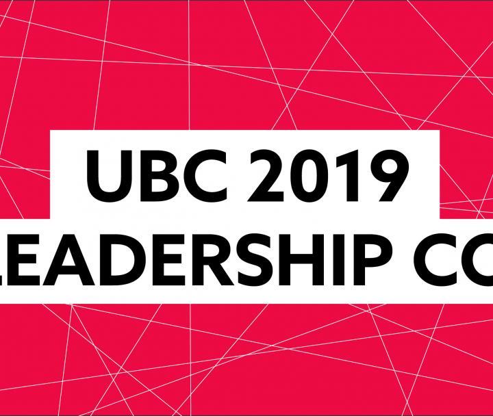 "SLC 2019 - Red background with black text: ""UBC Student Leadership Conference 2019"""