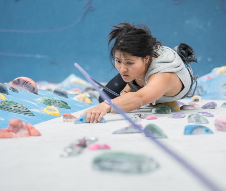 UBC Student spends an afternoon rock climbing at the indoor climbing wall in the AMS Student NEST
