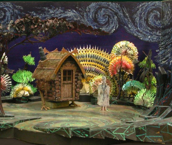 Stage set decorated as a forest