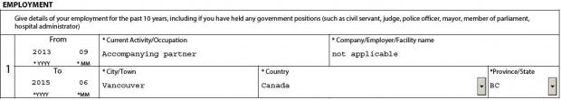 Employment section screenshot for spouse or partner work permit