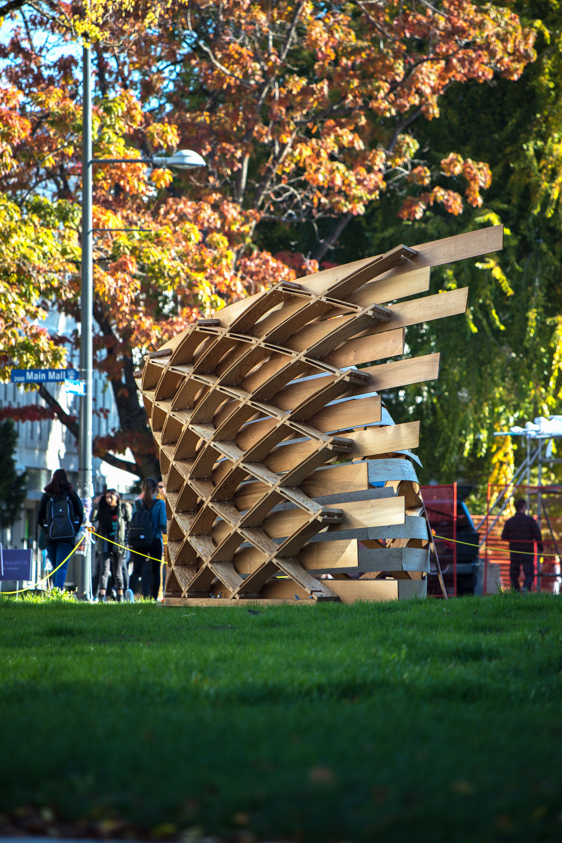 The Timber Wave wooden sculpture near Main Mall and University Boulevard