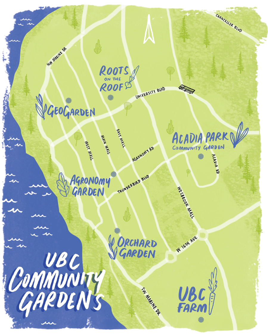 map of ubc with community garden plots labelled